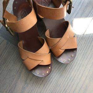 Ash Leather Wooden Platform Sandals Size 36